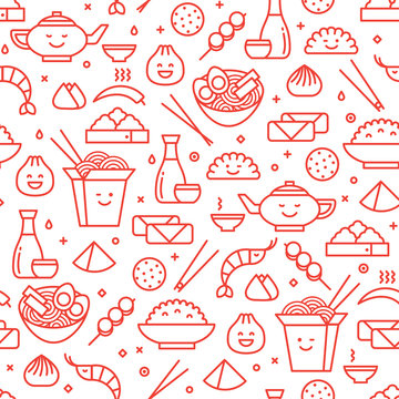 Vector outlined iconic seamless pattern of Chinese food. Traditional food of different places of China like noodles, dim sum, ramen and spring rolls.