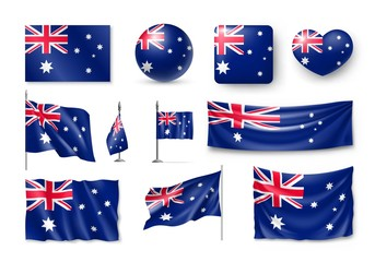 Set Australia realistic flags, banners, banners, symbols, icon. Vector illustration of collection of national symbols on various objects and state signs