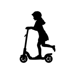 Silhouette girl helmet riding scooter