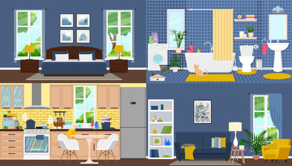 Apartment inside. Rooms with furniture. Vector flat illustration.