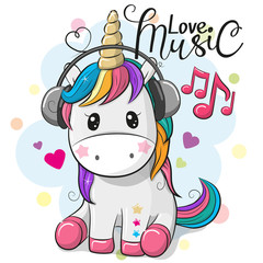 Unicorn with headphones on a blue background