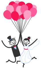 Vector wedding illustration of happy stick figures bridal couple taking off holding on to pink balloons isolated on white background, wedding invitation template