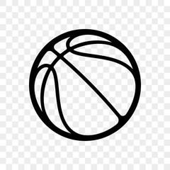 Basketball logo vector icon isolated on transparent background. Vector outline sport emblem for basketball fan club