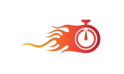 Illustration of the symbol vector of fast service with a flaming clock symbolizes speed and agility in the business concept