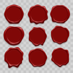 Stamp wax seal vector icons set of red sealing wax old realistic stamps labels