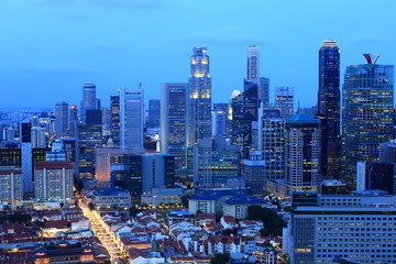 Top views skyline business building and financial district at night at Singapore City, Singapore