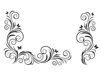 Decorative black floral element and corner, stencils.