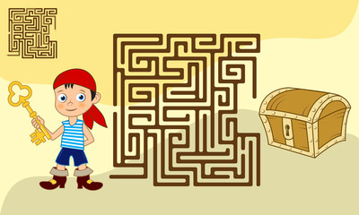 Square maze game for kids with solution. Cartoon boy with a key looking for the path to the chest of jewels.