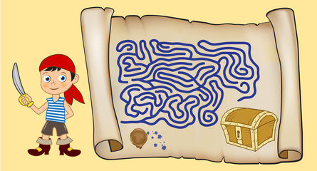 Maze game for kids. Cartoon boy with a sword looking for the path to the chest of jewels. Old scroll of paper with a stamp and ink stains.