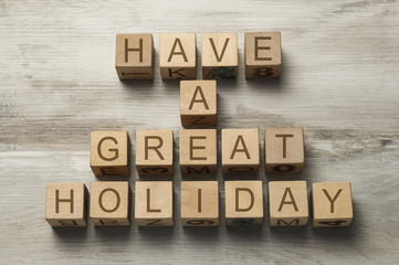 have a great holiday text on wooden toy cubes
