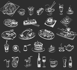 linear drawing of various food and drinks for a cafe, bar, restaurant, fast food, dining room; sketch, isolated objects, vector illustration