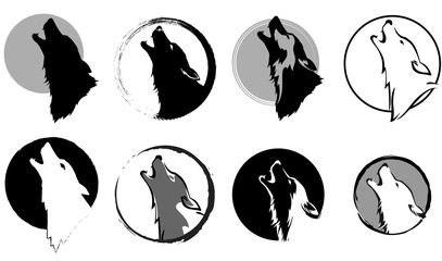set of stylized images of a wolf glory wailing at the moon, black and white variants, vector illustration, isolated objects