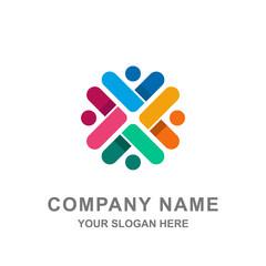 Group of People Teamwork Logo Vector