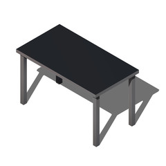 Isometric office table. Modern workplace vector. 3d illustration