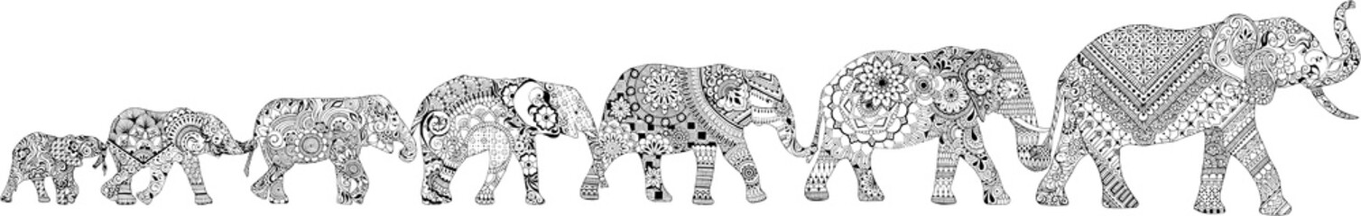 7 elephants decorated in the mehendi style. Different elephants, with different patterns in oriental style.