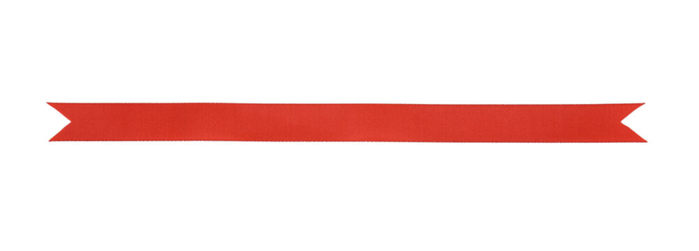 Red fabric ribbon isolated on white background