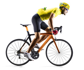 Professinal road bicycle racer isolated on white