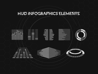 Set of black and white hud infographic elements. Head-up display elements for the web and app. Futuristic user interface. Virtual graphic.