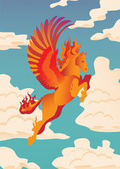 Pegasus vector illustration. Banner with flying, orange, flamed Pegasus on clouds background. Magical, mystical animal illustration.
