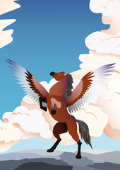 Pegasus vector illustration. Banner with reared, brown Pegasus on clouds background and blue sky. Magical, mystical animal illustration.