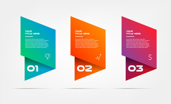 Gradient infographics step by step. Element of chart, graph, diagram with 3 options - parts, processes, timelines. Vector business template for presentation, banners. Abstract form