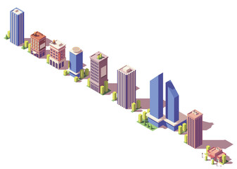 Vector low poly isometric modern buildings set