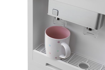 Office water cooler with cup, closeup