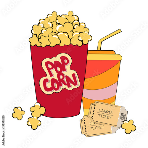 Hand drawn popcorn box red white and yellow colors vector hand drawn popcorn box red white and yellow colors vector illustration popcorn box isolated on voltagebd Gallery