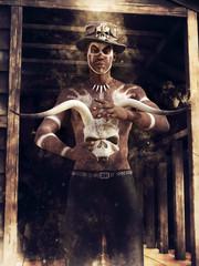 Ciemnoskóry czarownik z czaszką rogatego zwierzęcia na tle drewnianej chaty