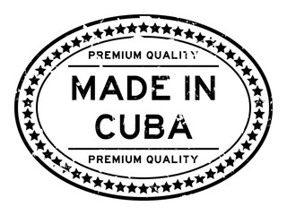 Grunge black premium quality made in Cuba oval rubber seal stamp on white background