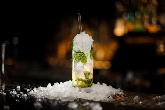 alcoholic cocktail mojito in a crystal glass