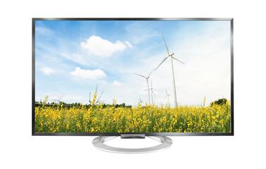 4k Television landscape isolated on white background.