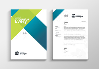 Letterhead Layout with Blue and Green Gradient Elements