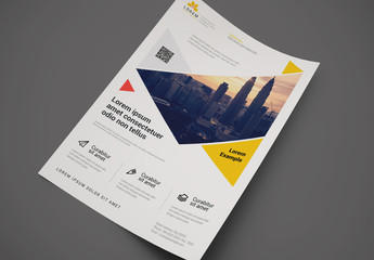 Flyer Layout with Yellow and Red Geometric Accents