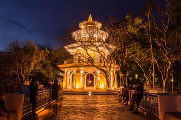 """Phuket, Thailand - April 14, 2015 : Phuket Memorial hall at """"Kao Rang"""" hill in the night time, Phuket, Thailand"""