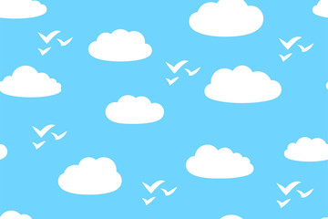Cartoon white clouds and silhouettes of birds in blue sky, seamless pattern, vector illustration in flat style.
