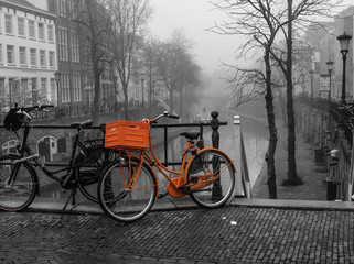 Fotobehang Fiets Utrecht Orange Bike