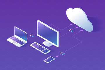 Cloud computing concept isometric vector illustration. Electronic devices, desktop computer, laptop and smartphone connected to cloud service, exchanging data.