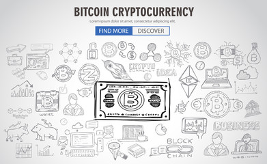 Cryptocurrency concept hand drawn business doodle designs