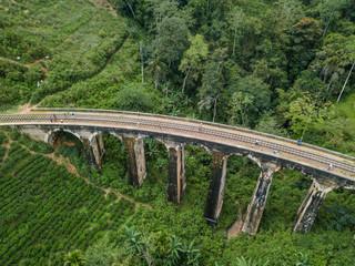 Old railway in the jungle. Aerial View. Nine Arches Bridge is located in Demodara, Ella city, Sri Lanka.