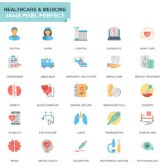 Simple Set Healthcare and Medicine Flat Icons for Website and Mobile Apps. Contains such Icons as Doctor, Hospital, Medical Equipment. 48x48 Pixel Perfect. Editable Stroke. Vector illustration.