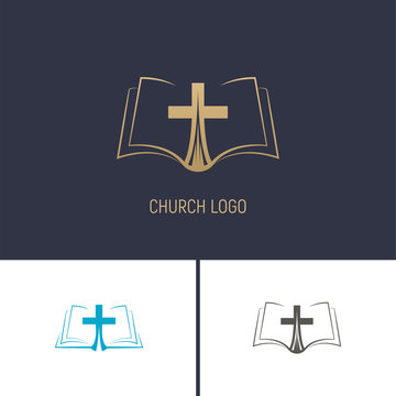 Logo of the Church. Christian symbols. A book with a cross.