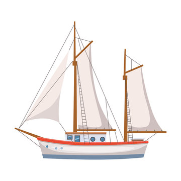 Sailing ship in the sea on seascape, vector illusration, isolated, cartoon style