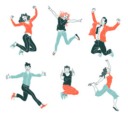 Jumping people isolated on white background.Various poses jumping people character. hand drawn style vector design illustration.happiness,freedom,motion,and people concept.Flat simple set of people