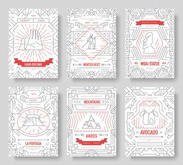 Chile vector brochure cards thin line set. Country travel template of flyear, magazines, posters, book cover, banners. Layout culture monument outline illustrations modern pages