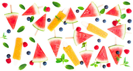 Watermelon  popsicle  pattern. Sliced watermelon with fruit  ice-cream and berries   isolated on white background.