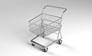 3D Rendering Of Realistic Supermarket Metal Shopping Cart On White Background