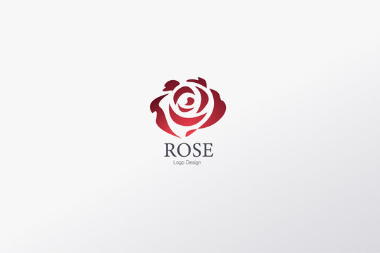Beautiful Contour Logo with Rose Flower for Boutique or Beauty Salon or Flowers Company