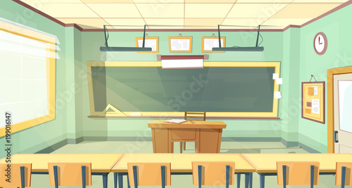Vector Cartoon Background With Empty Classroom, Interior Inside. Back To  College Concept Illustration.