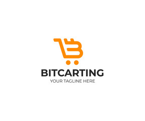 Bitcoin symbol and cart logo template. Cryptocurrency vector design. Digital money and shopping trolley logotype